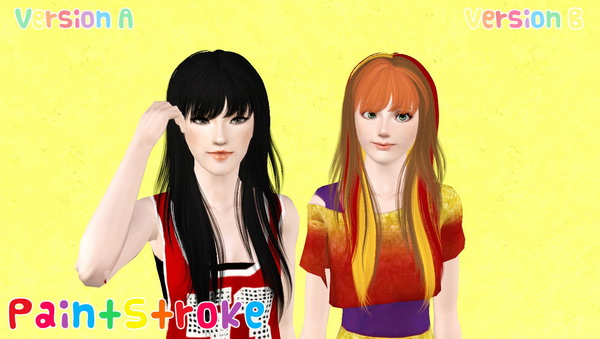 NewSea`s Crow long layered with bangs hairstyle retextured by Katty for Sims 3