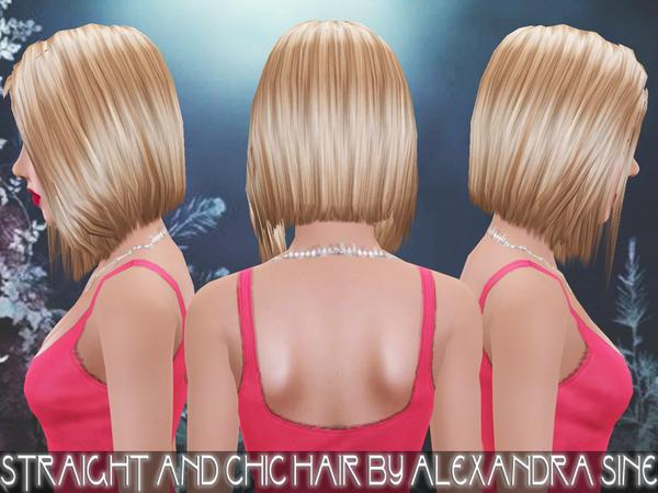 Straight and Chic hairstyle by Alexandra Sine  for Sims 3