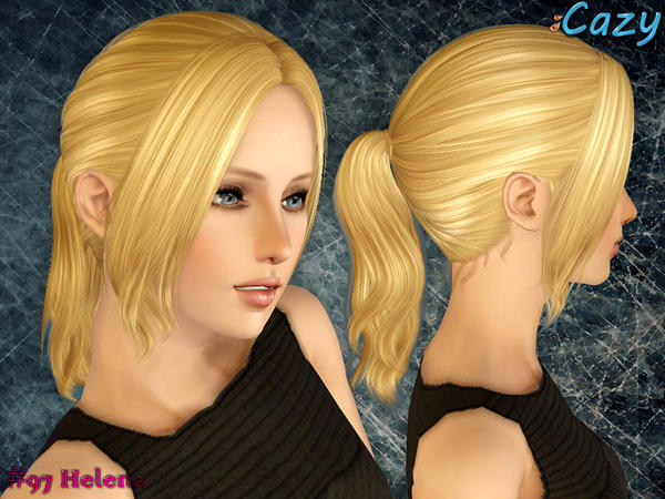 Small ponytail with long bangs hairstyle Helena by Cazy for Sims 3