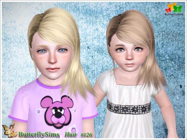 Stretched side hairstyle 126 by Butterfly for Sims 3