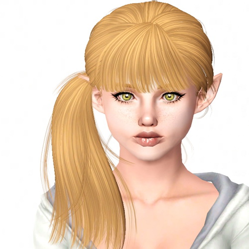 Newsea`s Breathe side ponytail hairstyle retextured by Sjoko for Sims 3