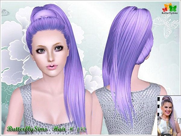 Dimensional wrapped ponytail hairstyle 132 by Butterfly for Sims 3