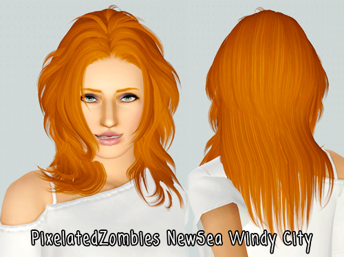 Face framing hairstyle Newseas Windy City retextured by Pixelated Zombies for Sims 3