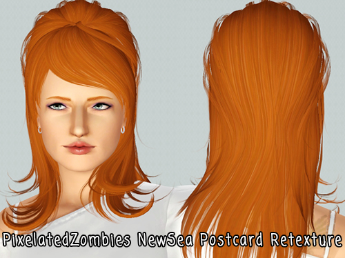 Contemporary hairstyle Newsea`s PostCard tretextured by Pixelated Zombies for Sims 3