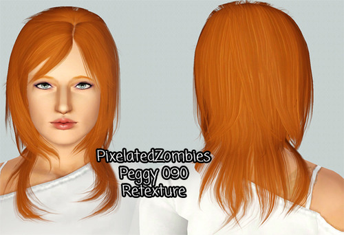 Peggy`s 090hairstyle retextured by Pixelated Zombies for Sims 3