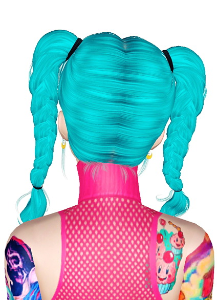 Double braided pigtails Newsea`s Miku retextured by Jas for Sims 3