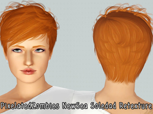 Tomboy haircut NewSea`s Soledad retextured by Pixelated Zombies for Sims 3
