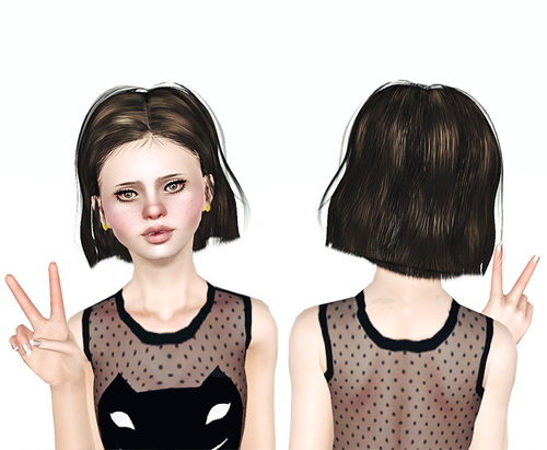 Layered bob hairstyle Raonjena 39 retextured by Jas for Sims 3