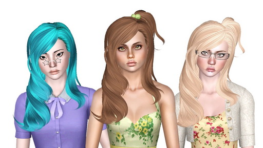 Small accessorized pigtail hairstyle Skysims 106 retextured by Sjoko for Sims 3