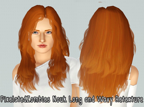 Nouk long and wavy hairstyle retextured by Pixelated Zombies for Sims 3