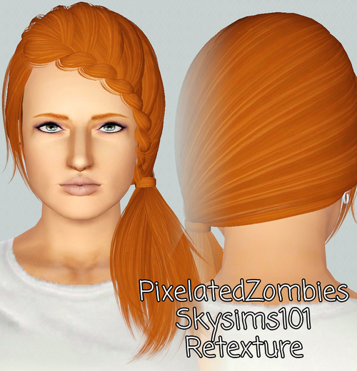 Skysims 101 Streaked hairstyle retextured by Pixelated Zombies for Sims 3