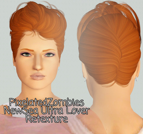 NewSea`s Ultra Lover hairstyle retextured by Pixelated Zombies for Sims 3