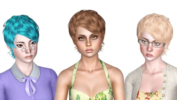 Smooth hairstyle Newsea Heartquake retextured by Sjoko for Sims 3