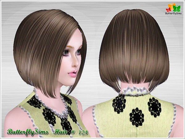 Shiny Bob Hairstyle 124 By Butterfly Sims 3 Hairs
