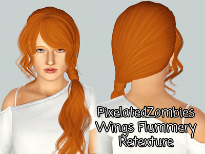 Side wrap ponytail hairstyle Wings`s Flummery retextured by Pixelated Zombies for Sims 3