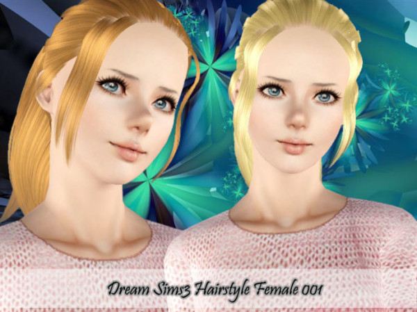Ponytail with bangs hairstyle 001 by Dream Sims 3 for Sims 3