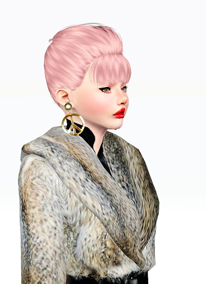 Dimensional bangs chignon hairstyle Nightcrawler 13 retextured by Jas for Sims 3
