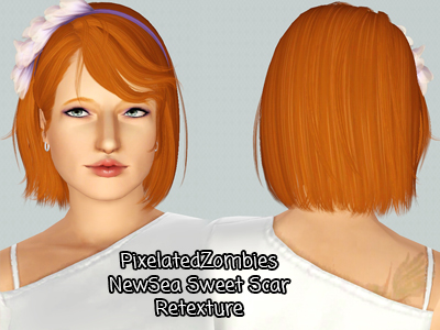Flower headband hairstyle NewSea`s Sweet Scar retextured by Pixelated Zombies for Sims 3