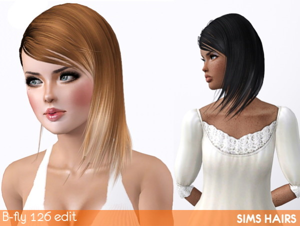 B fly free hairstyle 126 edited by Sims Hairs for Sims 3