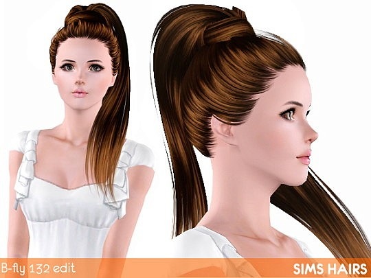 Shiny retexture for B-fly's AF 132 hairstyle by Sims Hairs