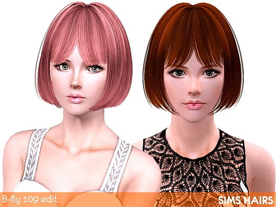 B-fly hairstyle's 109 retextured by Sims Hairs