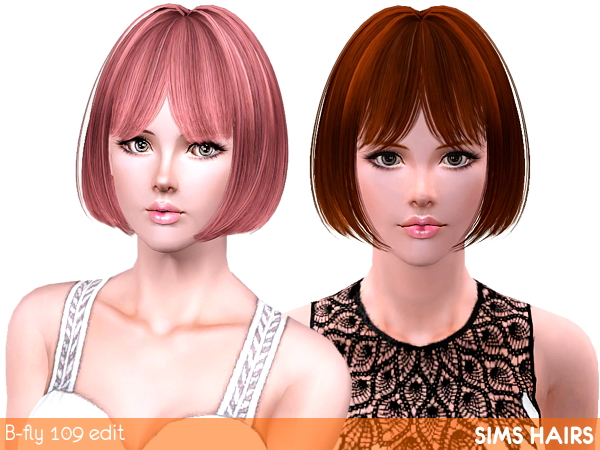 B fly hairstyles 109 retextured by Sims Hairs for Sims 3