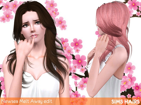 Newseas J182 Melt Away hairstyle retextured by Sims Hairs for Sims 3