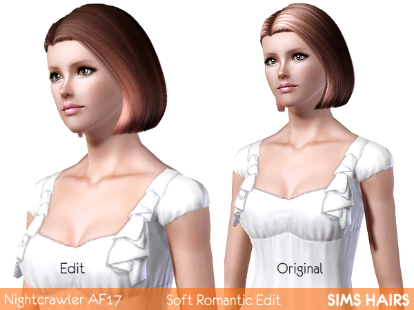 Nightcrawlers AF 17 bob hairstyle romantic edit by Sims Hairs for Sims 3