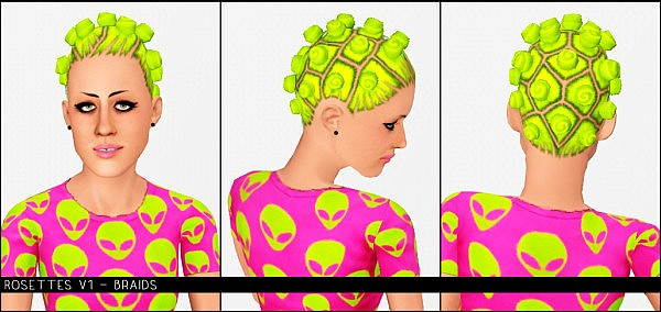Rosettes hairstyle conversion from TS2 to TS3 by Modish kitten for Sims 3