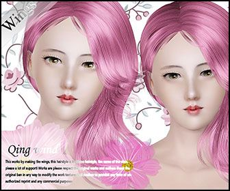 Qing wind hairstyle by Wings for Sims 3