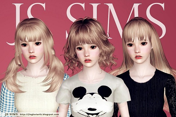 Three Hairstyles Edited by JS Sims 3 for Sims 3