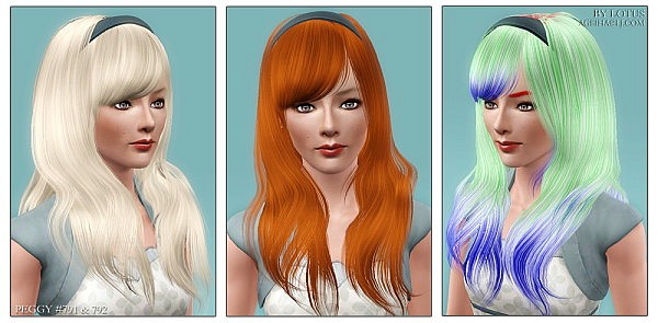 Peggy`s 791 and 792 hairstyles retextured  by Lotus for Sims 3