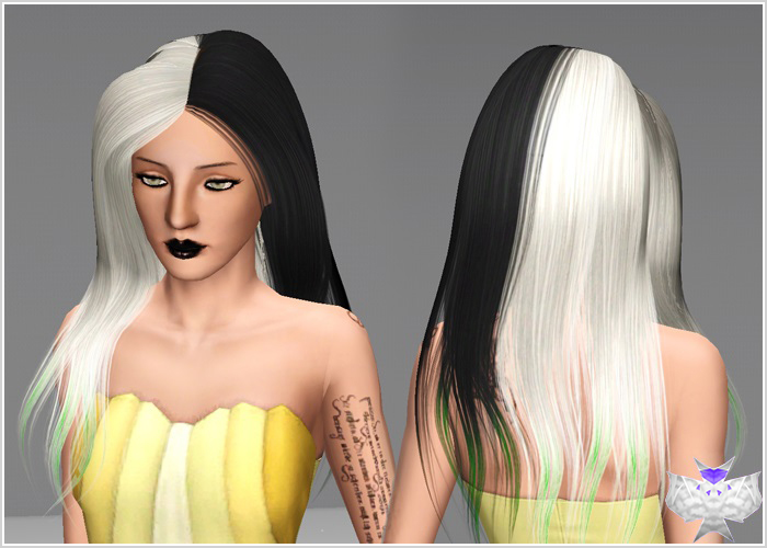 Sants Hair Half Colors by David for Sims 3