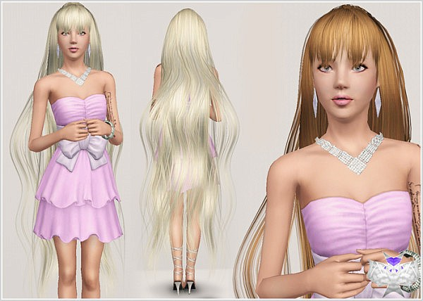 Long with bangs hairstyle 004 by David for Sims 3
