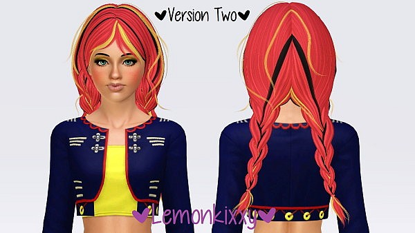 Newsea's Old School hair retextured by Lemonkixxy for Sims 3
