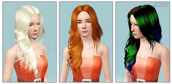 Cazy`s Reunion hairstyle retextured by Lotus for Sims 3