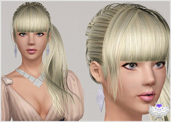 Side ponytail with bangs hairstyle 005 by David Sims for Sims 3