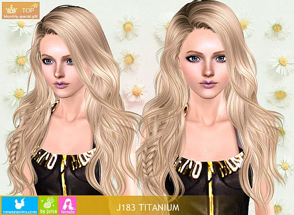 J183 Titanium long hair with small braid by NewSea for Sims 3