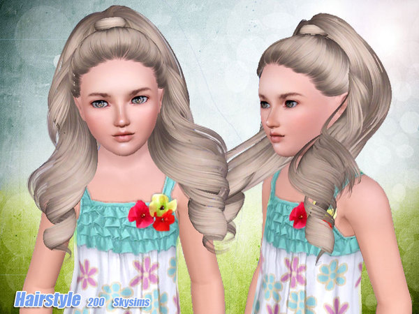 Tornado ponytail hairstyle 200 by Skysims for Sims 3