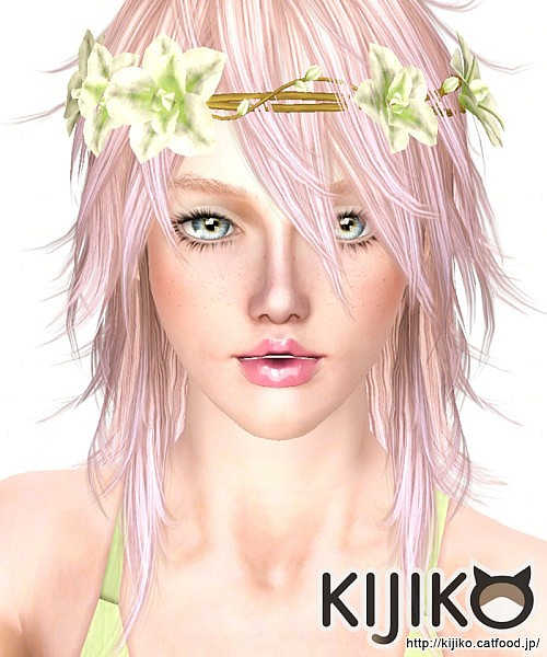 Pink and Fluffy hairstyle for her by Kijiko for Sims 3