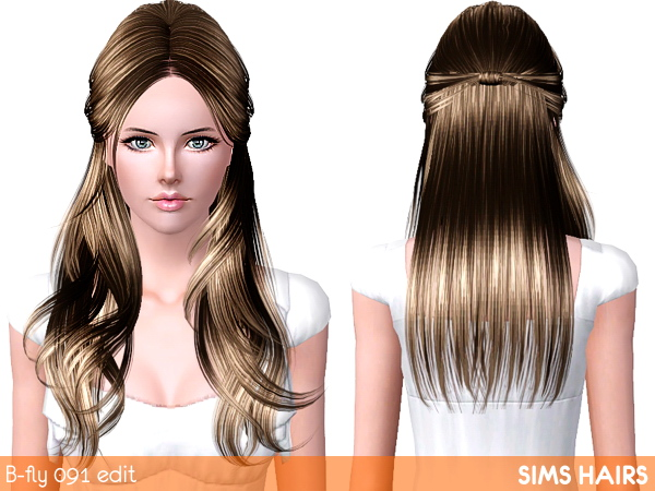 Butterfly's hairstyle AF 091 light retextured by Sims Hairs for Sims 3