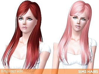 Butterfly 097 hairstyle retextured by Sims Hairs - 3