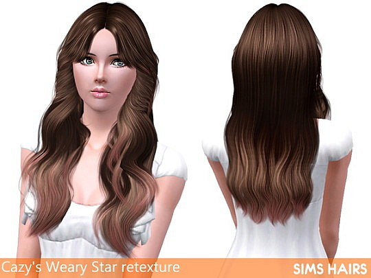 Gentle highlighted retexture Cazy's Weary hairstyle by Sims Hairs