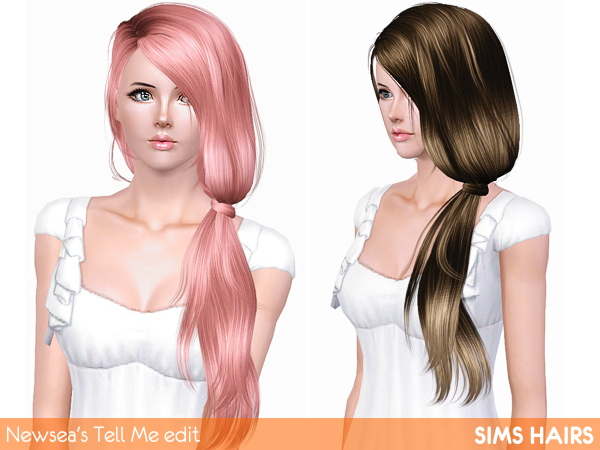 Newsea's J152 Tell Me hairstyle edited by Sims Hairs for Sims 3