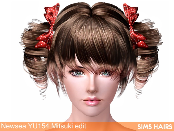 Newsea's YU154 Mitsuki hairstyle retexture by Sims Hairs for Sims 3