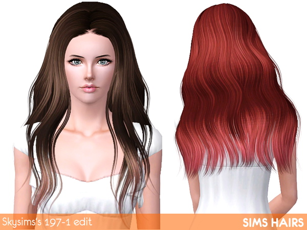 Skysims's AF 197 hairstyle highlight retextured by Sims Hairs for Sims 3