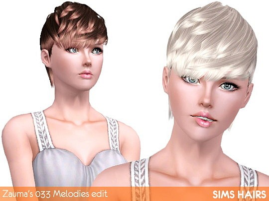 Zauma's 033 Melodies female enabled and retextured by Sims Hairs