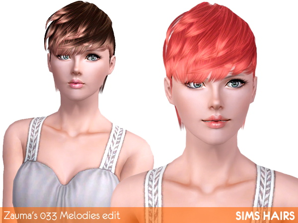 Zaumas 033 Melodies female enabled and retextured by Sims Hairs for Sims 3