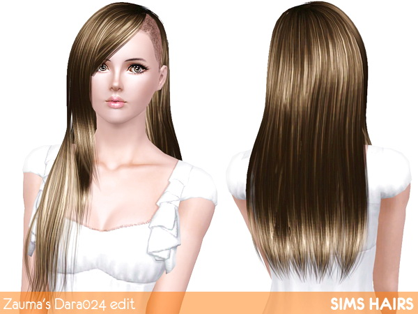 Zauma's Dara 024 half shaved hairstyle retextured by Sims Hairs for Sims 3