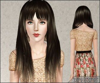 Thin hairstyle with bangs by XM Sims for Sims 3